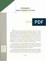 2- Uribe, MT (1997). Antioquia entre la guerra y la paz