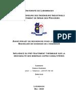 Influence du pré-traitement thermique sur la broyabilité des minerais cupro-cobaltifères - Bsc Proposal - Kabulo Kabongo  ESI UNILU
