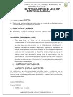 MEDIDA DE POTENCIA, METODO DE LOS 3 AMP. REACTANCIA PARALELA