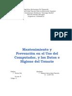 TRABAJO DE INFORMATICA (MANTENIMIENTO Y PREVENCION USO DEL COMPUTADOR)