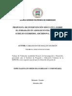 PLAN DE CLASE Y TALLER EMBARAZO ADOLESCENTE