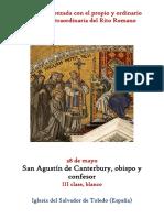 28 de Mayo.- San Agustín de Canterbury, obispo y confesor. Propio y Ordinario de la santa misa