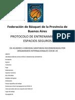 Protocolo Seguridad de la Federación de Básquet de la Provincia