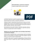 trabajo de departamento de seguridad industrial y salud en el trabajo