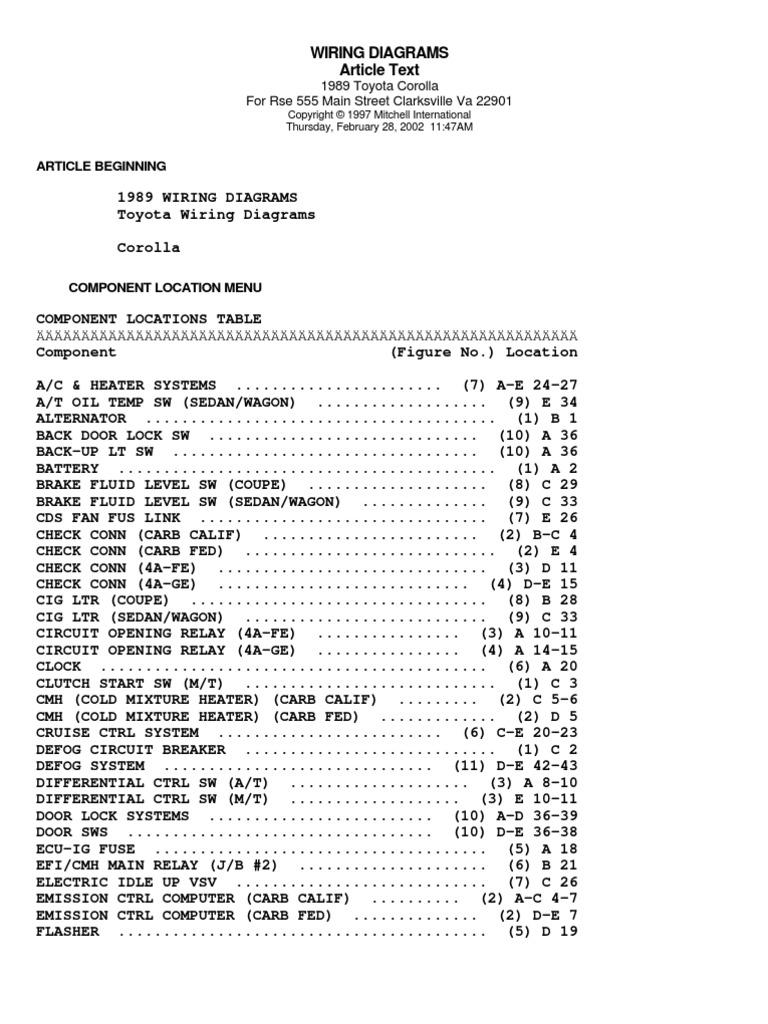 Toyora Corolla Wiring Diagram 1998