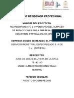 REORDENAMIENTO E INVENTARIO EN EL ALMACÉN DE REFACCIONES DE LA EMPRESA SERVICIO INDUSTRIAL ESPECIALIZADO S.A DE C.V,  (SERIESA).docx