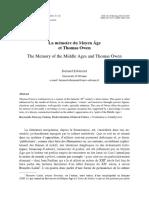 La mémoire du Moyen Âge et Thomas Owen The Memory of the Middle Ages and Thomas Owen Bernard Ribémont