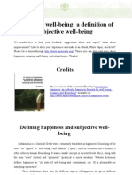 Subjective Well-being a Definition of Subjective Well-being