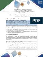 Guía de actividades y rúbrica de evaluación - Unidad 1 - Tarea 2 - Configuración de la red de suministro