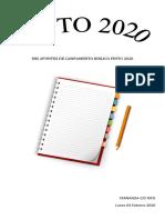 MIS APUNTES DE CAMPAMENTO BIBLICO PINTO 2020