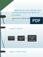 Comparación de varios métodos para la extracción efectiva aceite microalga