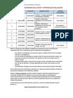 Cronograma y Criterios de Evaluación del curso