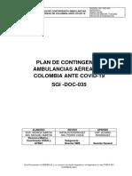 SGI-DOC-035 V01 PLAN DE CONTINGENCIA AMBULANCIAS AÉREAS DE COLOMBIA ANTE COVID-19