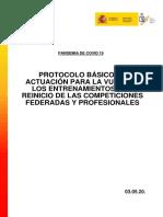CSD. GTID. Protocolo sanitario para el deporte.