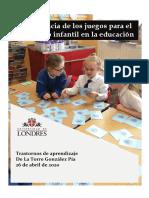 Importancia de los juegos para el desarrollo infantil en la educación