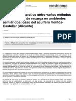 Análisis comparativo entre varios métodos de estimación de recarga en ambientes semiáridos