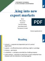 Breaking into new export markets