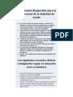 Documentos Requeridos para la Renovación de la Solicitud de Ayuda