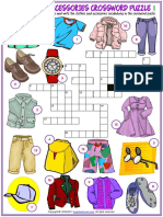 Clothes and Accessories Vocabulary Esl Crossword Puzzle Worksheets for Kids