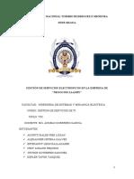 """GESTIÓN DE SERVICIOS ELECTRONICOS EN LA EMPRESA DE """"NEGOCIOS LLAURY"""""""