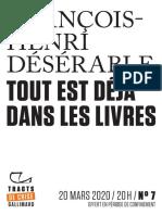 9782072909726 - François-Henri Désérable - Tout est déjà dans les livres