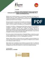 COMUNICADO DE DAVID RACERO - MAIS