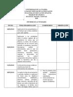 INFORME DE ACTIVIDADES TRABAJO DE GRADO I 2019