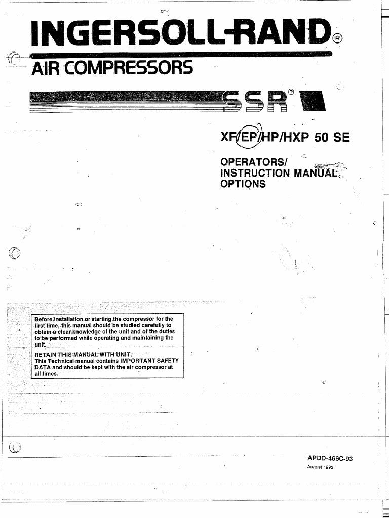 ingersoll rand ssr instruction manual xf ep hp hpx 50 se rh scribd com Ingersoll Rand Industrial Air Compressor Ingersoll Rand Parts Breakdown