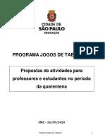 Propostas de Atividades do Programa JOGOS DE TABULEIRO