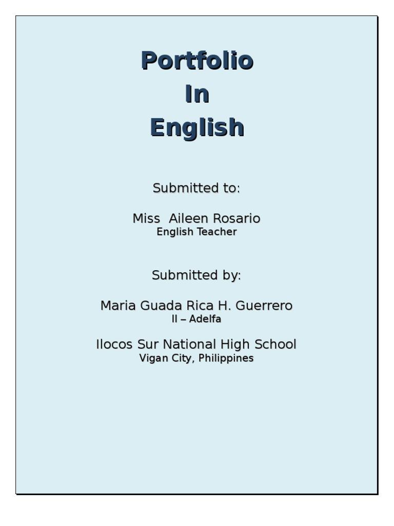 English portfolio cover page