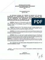 City Ordinance No. 851, s. 2018 - The Revised Charter of Bacolod City College