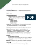Estructura mínima para la presentación del proyecto de tesis