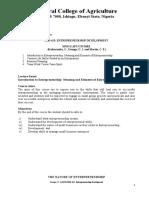 EED 423 Entrepreneurship Development Lecture Notes