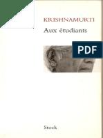 Krishnamurti Jiddu - Aux étudiants