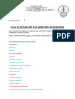 PLAN DE REDACTION DES QUESTIONS D'ANATOMIE