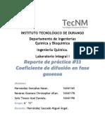 Práctica 11. Coeficiente de difusión en fase gaseosa