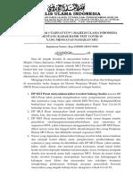 Klarifikasi MUI ttg Kabar Rapid Test Covid-19