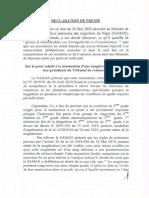 Déclaration de presse du Ministre de la Justice 28 05 20
