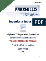 José Adolfo Rios Valdez Ingeniería Industrial 4B Sabatino Higiene Y Seguridad Industrial ITSF Tipos De Riesgos De Trabajo