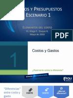 Costos y presupuestos - Escenario 1; Elementos del costo