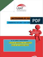 ACTIVIDAD N° 3 PROBLEMAS DESARROLLADOS DE CINEMATICA DE UNA PARTICULA EN UNA Y DOS DIMENCIONES