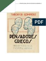_Gomperz, Theodor - Pens Adores Griegos - Libro 1