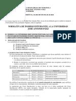 NORMATIVA_INGRESO_ESTUDIANTIL_UJAP_Noviembre_2016