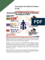 Cada boliviano genera tres kilos de basura tecnológica al año lectura complementaria