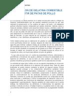 FABRICACION DE GELATINA COMESTIBLE APARTIR DE PATAS DE POLLO