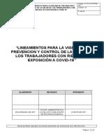 Lineamientos para la vigilancia, prevencion y control de la salud de los trabajadores con riesgo de exposición a Covid-19 FECUSAC