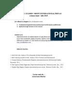 TEMATICA EXAMEN  DREPT int.privat  2019