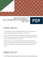 MBF PROPERTY V BALASUBRAMANIAM