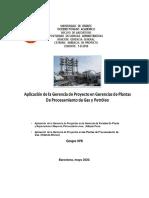 Aplicación de Gerencia de Proyecto en Gerencias de Plantas de G y P