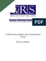 Programa de estudio para la historia de la iglesia antes de la Reforma